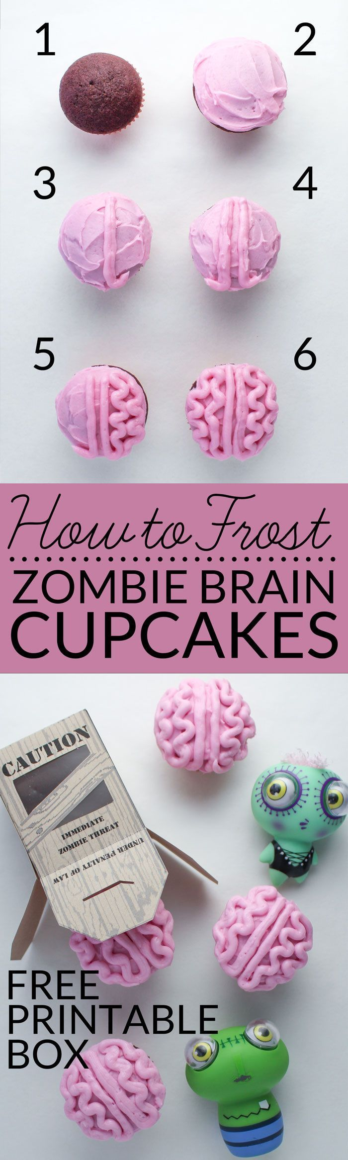 Learn how to frost brain cupcakes with this easy tutorial. You can celebrate everything zombie and goolish with this all natural zombie brain cupcake recipe that contain no artificial food coloring! #thewalkingdead #Halloween #zombies