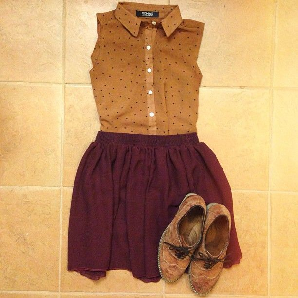 Burgundy with polka dots. Classy girl next door vibe with a hint of vintage.