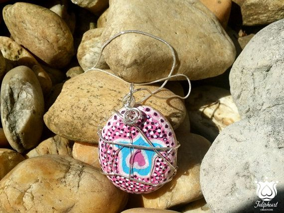 Love symbol, Hand Painted, Wire Wrapped Stone Pendant, Tulip and Heart painted stone, Necklace, Boho Jewelry