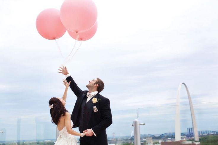 Outdoor Wedding Photos Seasons with Balloons