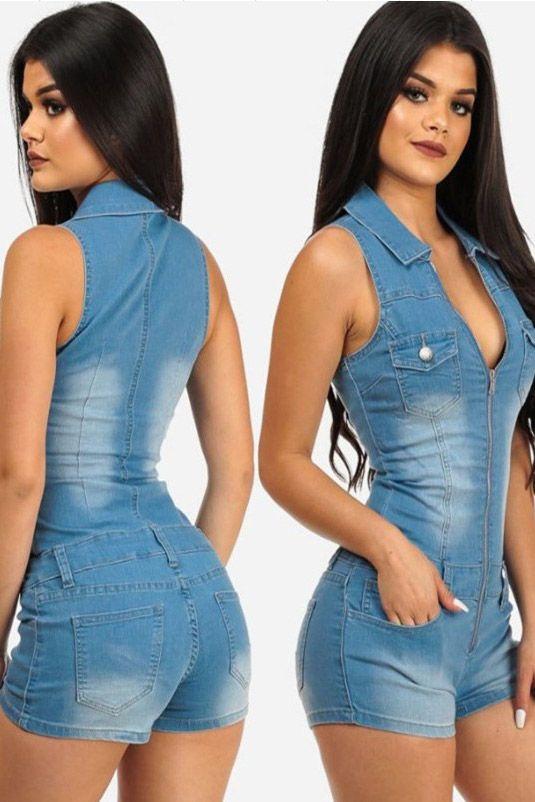 8bb1a3d2de15ac Macaquinho Jeans Com Zíper Frontal | UFashionShop | Kadelyn em 2019 ...