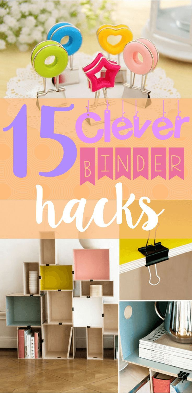 15 Clever Binder Hacks That Will Change Your Life! - stationary hacks - diy home decor - diy home hacks