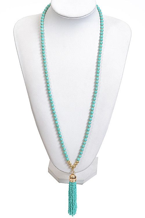 """Long Bead Necklace with Tassel Bead Detail * 30 x 4"""" approx."""