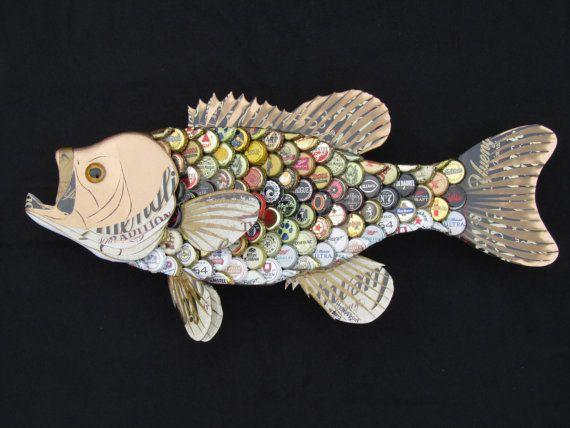 Arte de la pared de la botella del metal tapa - Bass de boca grande