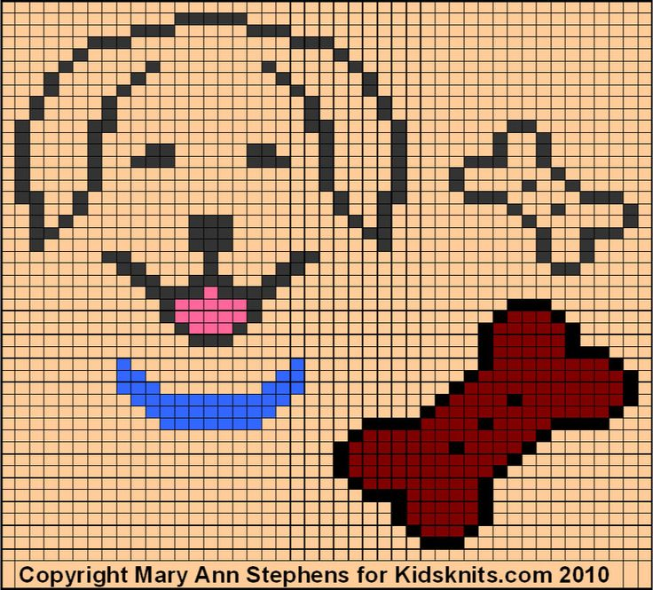 Golden Retriever, a free knitting chart by Mary Ann Stephens for Kidsknits.com and her Two Strands blog.