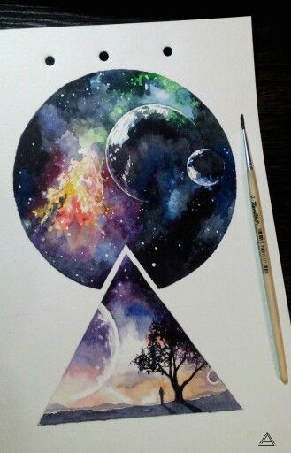 Space watercolor tatoo picture