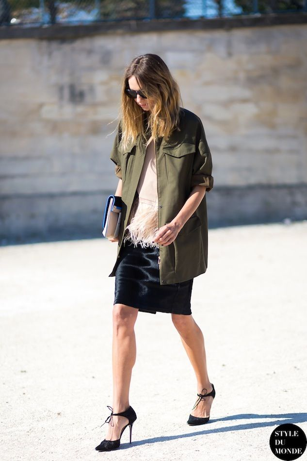 Candela Novembre | Army Jacket + Feathers In Paris