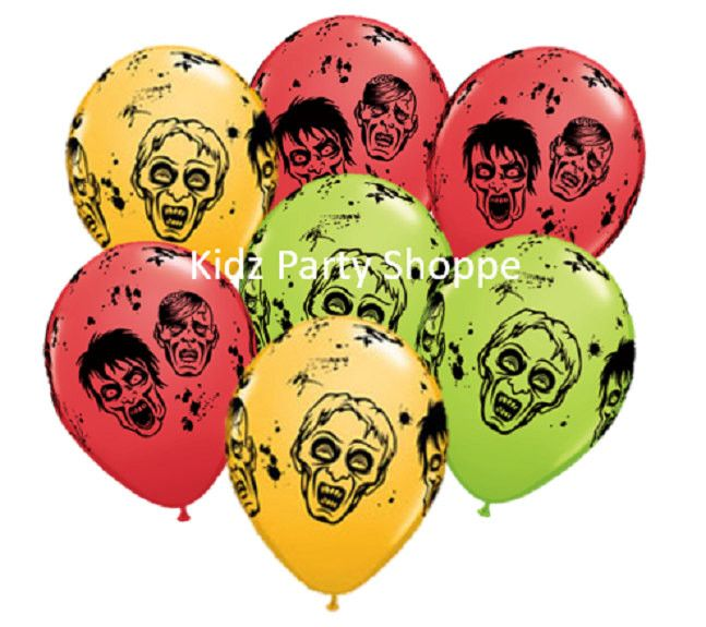 zombie 11 latex balloons zombies halloween birthday party decorations supplies - Zombie Decorations
