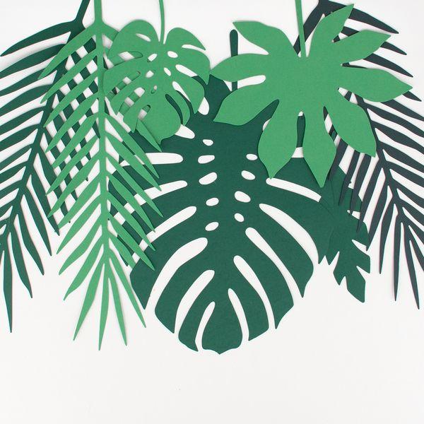 Decorations en papier feuilles tropicales