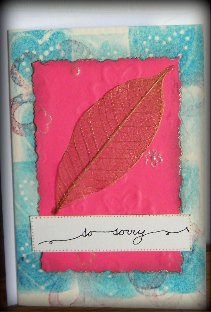 Sympathy card with homemade stamps for the background.