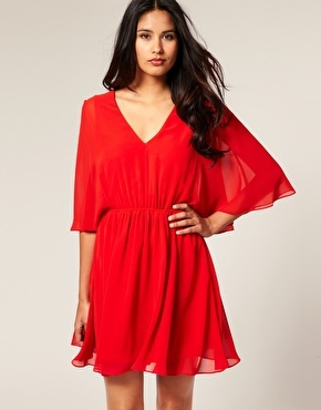 Love this easy red deep v neck short dress, the sleeves are beautiful and its a great fit