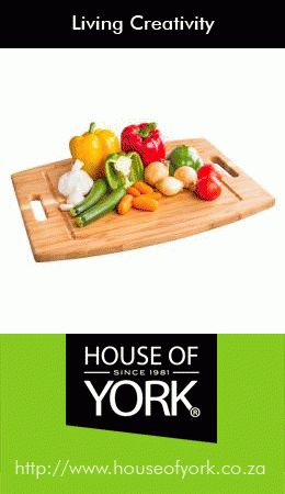 House of York offers handy bamboo cutting boards that are bacterial resistant and easier on knives from only R54.95. #bamboo #cuttingboard #kitchen