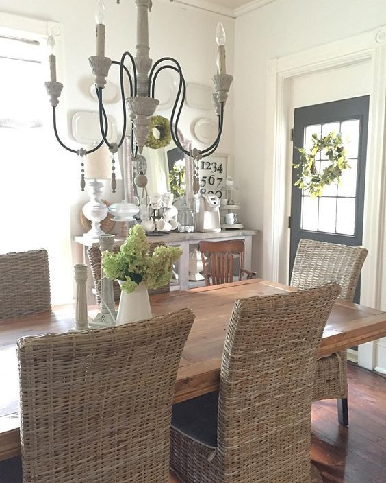 Farmhouse Dining Room With Wicker Chairs Kellyelko