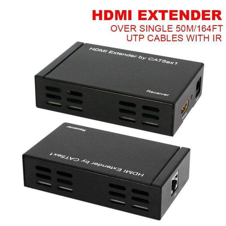 69.90$  Watch now - http://ali87u.worldwells.pw/go.php?t=2012342909 - Free Shipping High Quality 50M HDMI Extender Over Cat 5e/6 Single RJ-45 UTP Cables HDMI V1.3 Transmitter and Receiver with IR