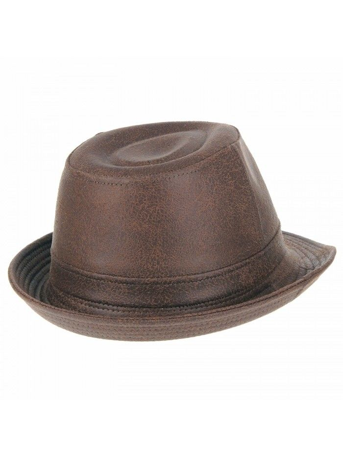 Indiana Jones Faux Leather Fedora Hat LD3278 - Brown - CK12EVL6SS3 ... 5c5744f3621