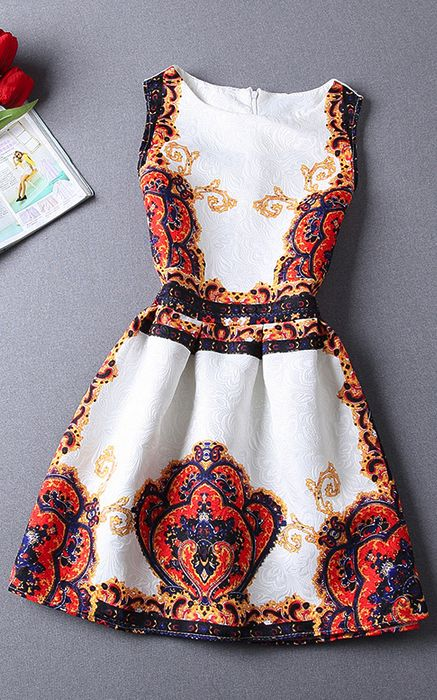 Slim Jacquard Printed Sleeveless Dress