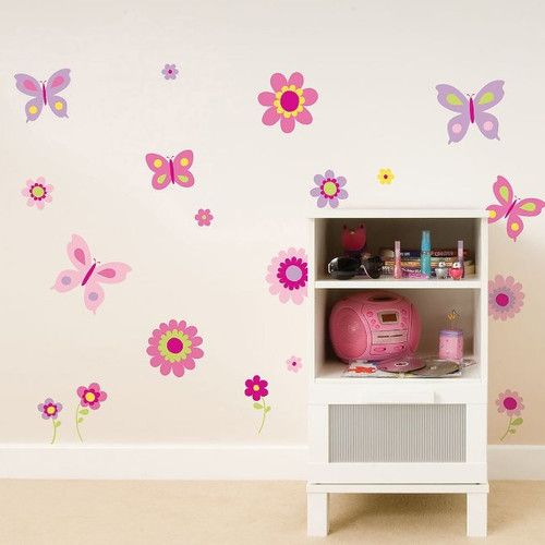 Found it at Wayfair - Euro Flowers and Butterflies Wall Decal