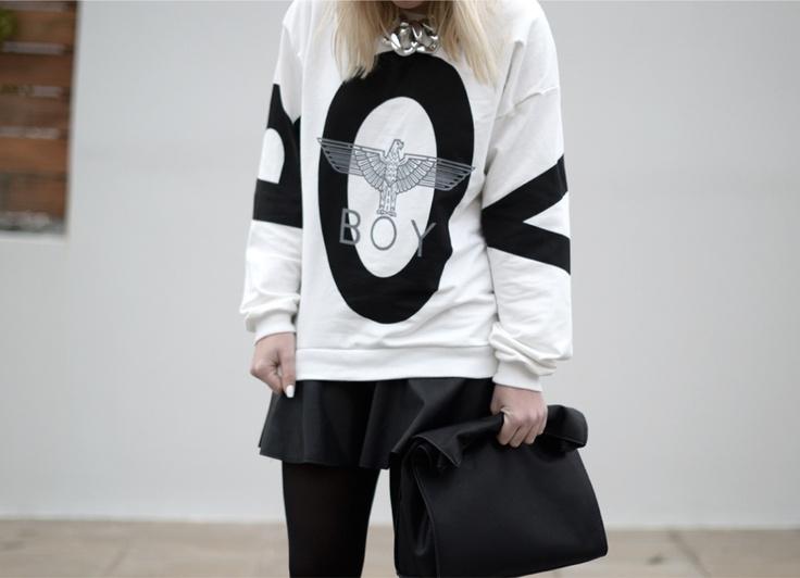 Style LimeLight, boy london sweatshirt Sheinside, leather skater skirt Sheinside