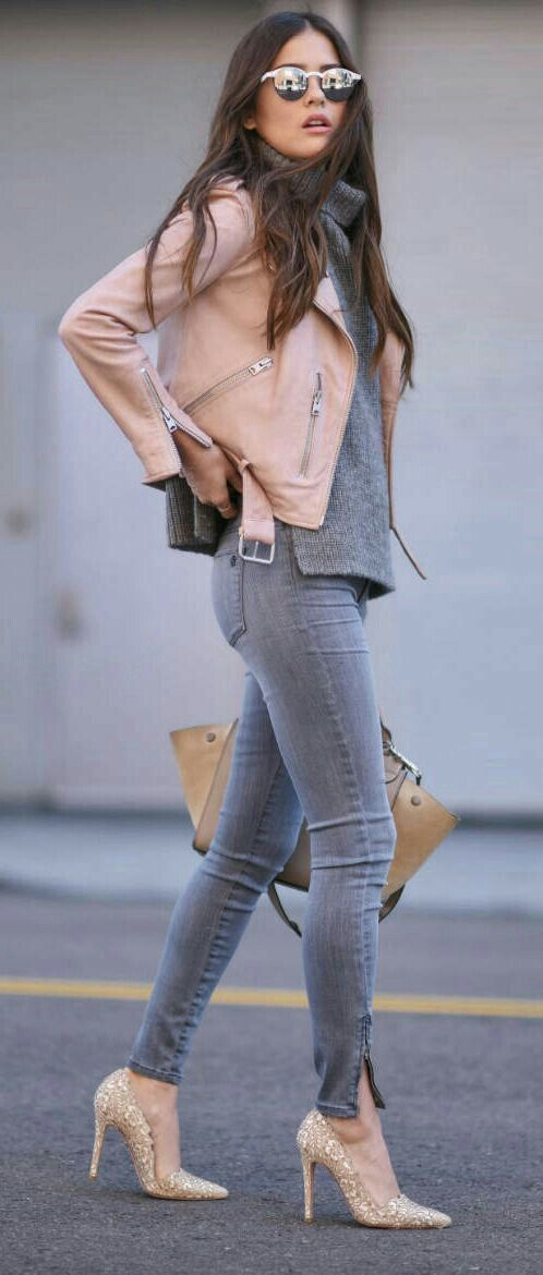 ..pink leather jacket..