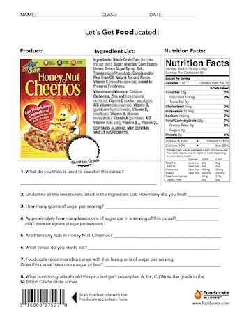 Nutrition Worksheets For Middle School