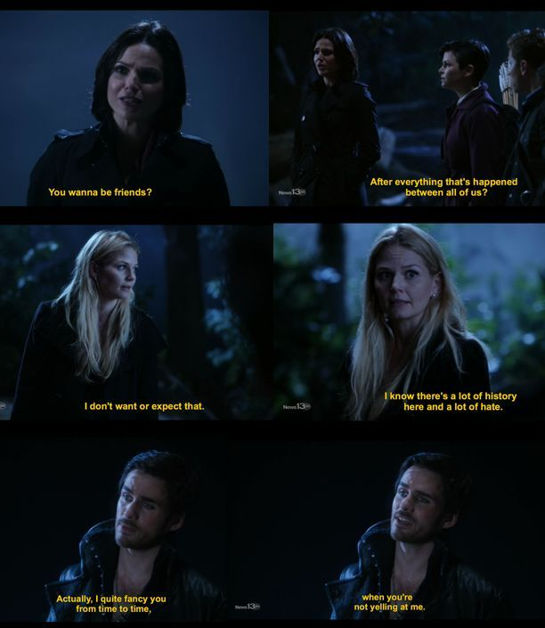 "once upon a time funny quotes | Once Upon a Time :) Captain Hook and Emma ""When you're not yelling at ..."