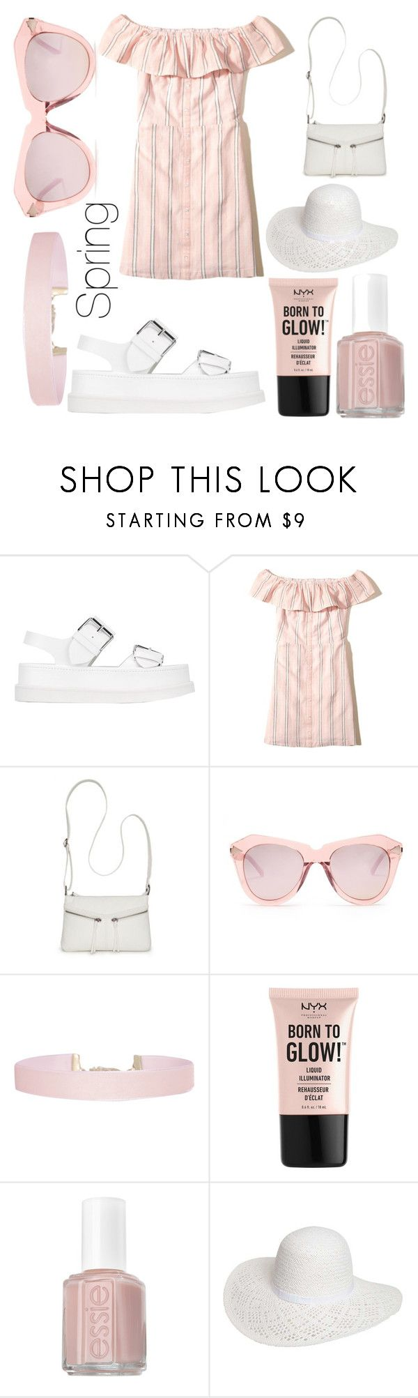 """""""Spring Off The Shoulder Dress"""" by amber-lanehart ❤ liked on Polyvore featuring STELLA McCARTNEY, Hollister Co., Bueno, Karen Walker, Humble Chic, NYX, Essie and Dorothy Perkins"""