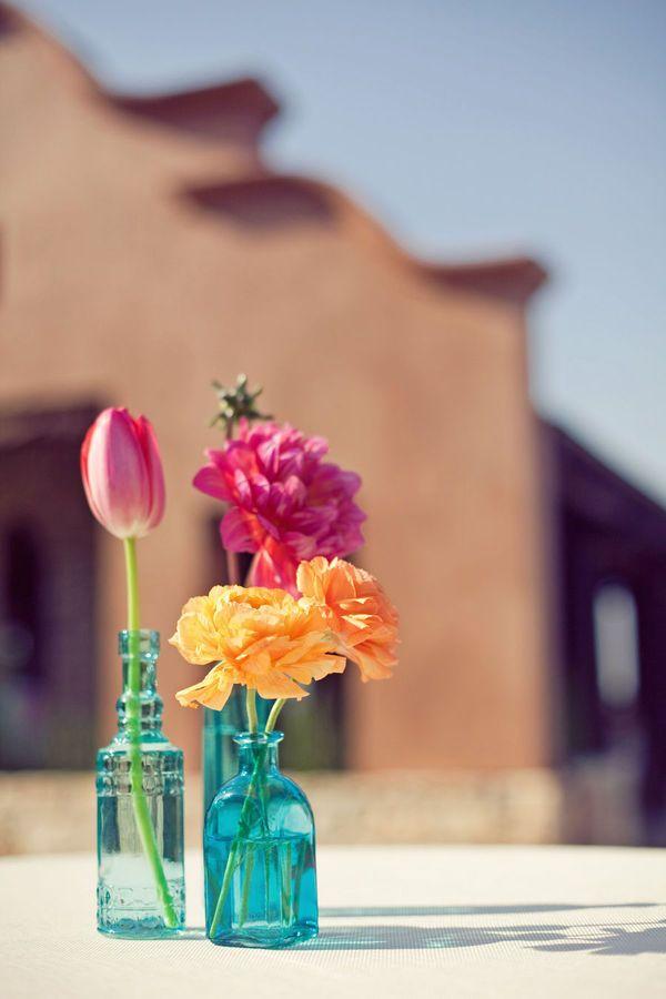 Table decor.: Colors Combos, Bud Vase, Blue Vase, Receptions Ideas, Bright Flowers, Flowers Vase, Colors Flowers, Tables Decor, Colors Glasses