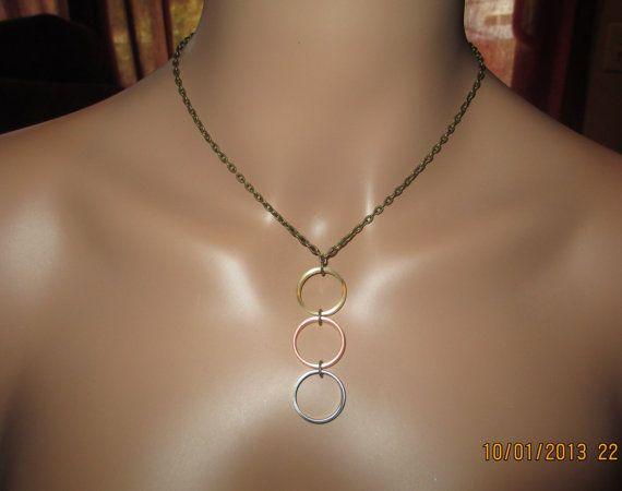 Mix Metals, Brass, Copper, Titanium Metal Work, Geometric, Minimalist Necklace