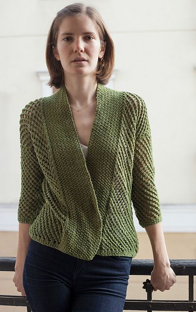 Free knitting pattern for Eyelet Cardigan , wrap cardigan with shorter three quarter sleeves by Juan R. Alcantar & Lois Horychata Small, Medium and Large