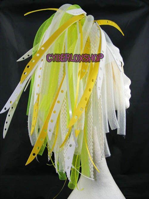 Cyberlox Dread Goth jaune blanc YellowBleach chutes de cheveux