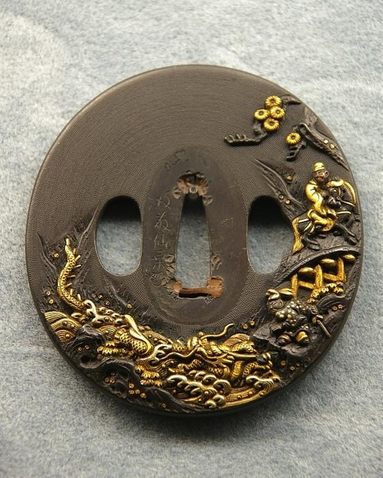 Japanese sword guard -tsuba-, made in Edp era, 17th century, Japan