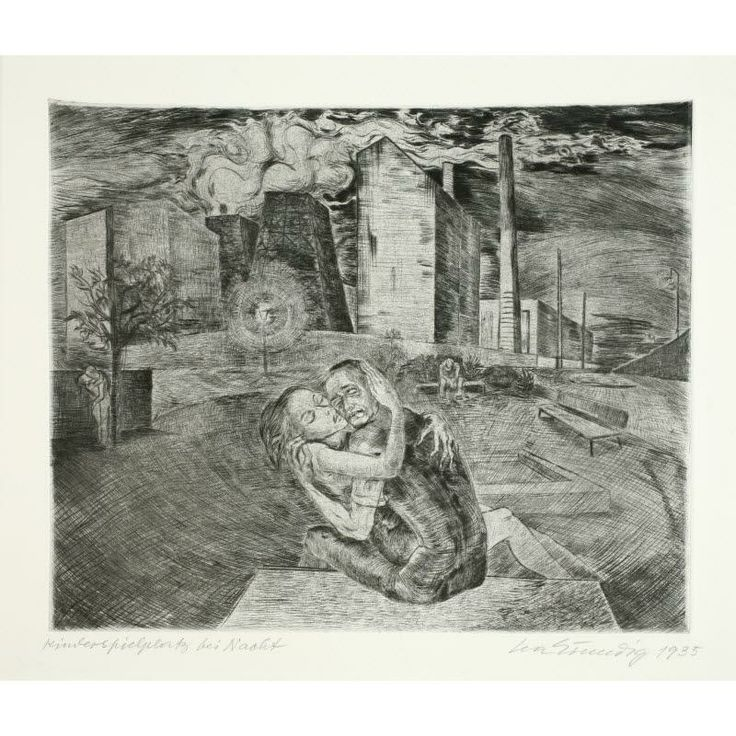 Playground at Night, plate 12 from the series Woman's Life Lea Grundig, 1936