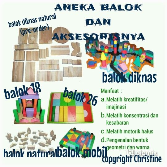 Aneka Balok #mainanedukasi #mainanpaud #mainanplaygroup #mainantk #mainankayu #puzzle #puzzleanak #mainananak #balok #balokpesona #balokdiknas #motorikhalus #silinder #tetris #pasak #belajar #belajaranak #kreativitasanak #kesabarananak #konsentrasi #ketelitian #geometri #warna #anak #batita #balita #kadoanak #suveniranak #hadiahanak #educationaltoys #educationaltoysfortoodlers #toodlersactivities #kidsactivities #momschoice #woodenblocks #blocks #mommy #kids #children #funactivities WA…