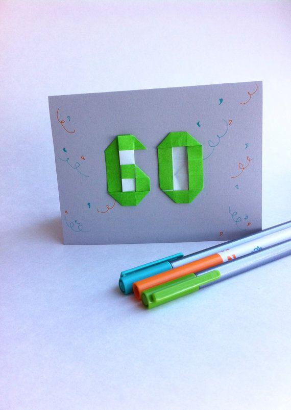 Carte avec un chiffre de votre choix en origami sur le dessus