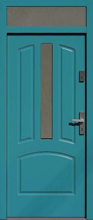 Drzwi z naświetlem górnym z szybą wzór 552,3s w kolorze turkusowe.