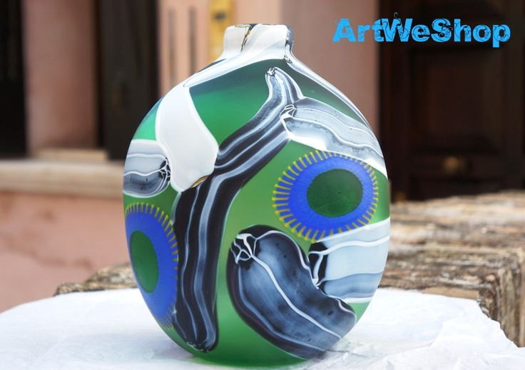 Wedding Gift, Original Murano Glass Vase by Studio Salvadore, Unique Green Glass Vase with White Glass Stripes, Handmade Venetian Glass Vase by ArtWeShop on Etsy