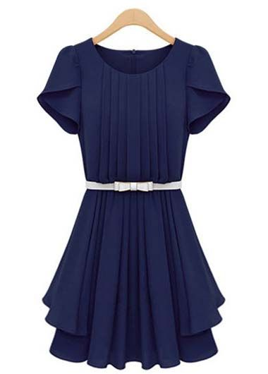 Pretty Petal Sleeve Pleated Chiffon Dress for Work