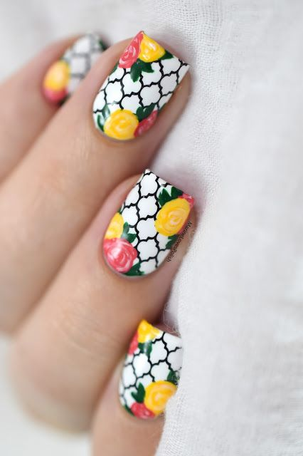 Marine Loves Polish: Nailstorming - Spring is coming! [VIDEO TUTORIAL] - easy roses nail art tutorial - hehe super hero 010 - floral nails