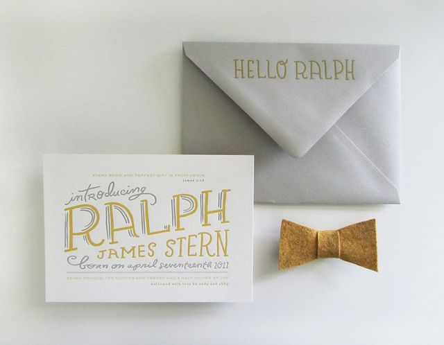 great hand-drawn type. : Births Announcements, Cute Baby, Bows Ties, Hands Letters, Baby Announcements, Baby Boys, Bowties, Birth Announcements, Baby Girls