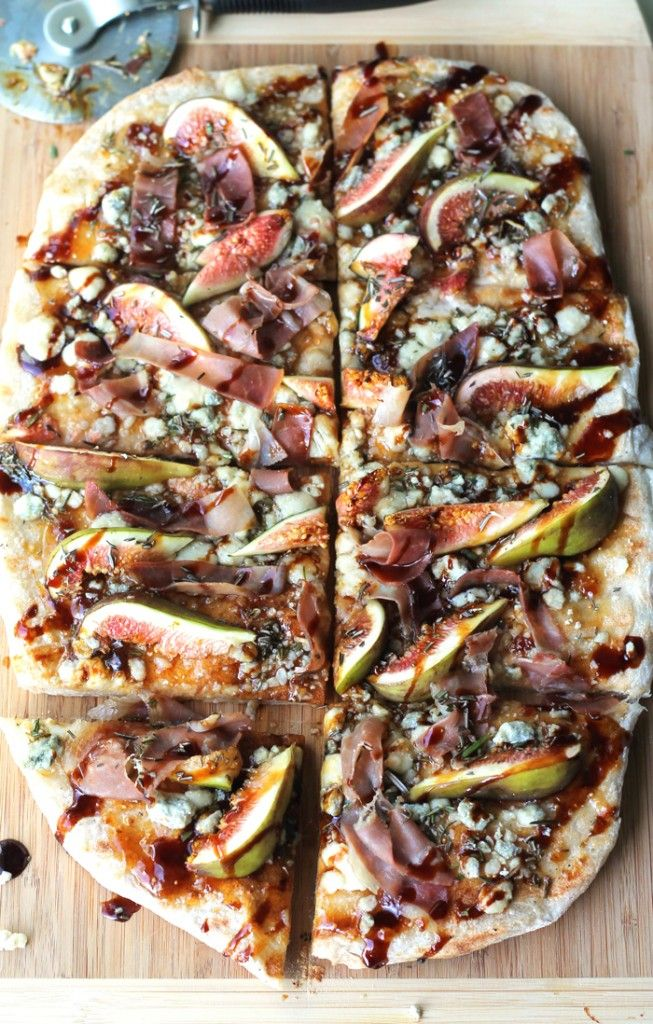 Grilled Flatbread With Fig, Blue Cheese + Prosciutto.