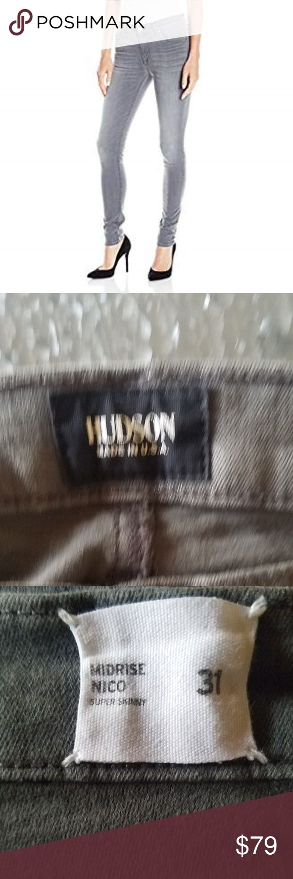Hudson Midrise Nico super skinny grey jeans sz 31 What a find!  Still selling in blue washes at full price of $185-208 online!   Soft, shaping denim fabric with full stretch recovery.  Cotton/poly/lycra blend.  Hudson fabric gives unbelievable lift and stretch recovery, along with a luxurious soft hand feel in a vintage wash  Like new, worn once and washed Hudson Jeans Jeans Skinny
