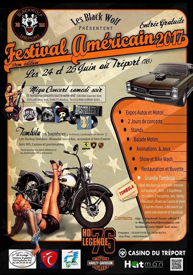 FESTIVAL AMERICAIN TREPORT, 10 eme édition , concentration moto, HARLEY DAVIDSON, INDIAN, VICTORY, BIKE
