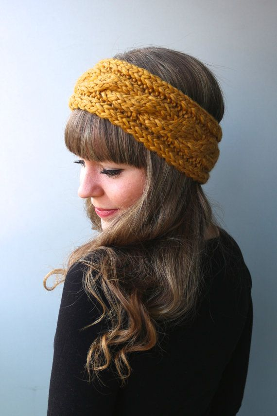 Wool & Acrylic Blend Yarn - Knit Twisted Headband / Braided Headband / Chunky Headband / Yellow Mustard Headband /Spring Accessories