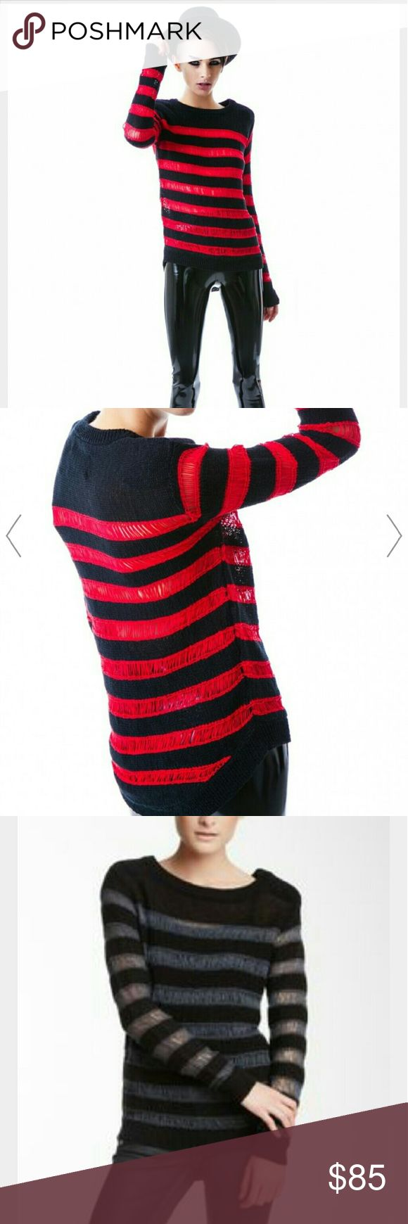 THE KRUEGER SWEATER  From Kill city  $130.00 Kill City The Krueger Sweater is an amazing knitted sweater from our homies at Kill City! This dark and moody long sleeve sweater features a sikk distressed appearance with red stripes running horizontally made from a drop needle stitching technique that makes the loose knits sheer. Featuring reinforced strong shoulder and tape yarn fibers, wide neckline, long sleeves on a sheer knit body, you?ll have sweet dreams when you wear this BB…