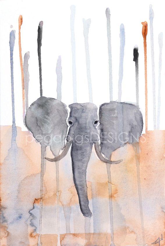 Aquarellmalerei Elefant Im Einklang Original Von Pegapigsdesigns