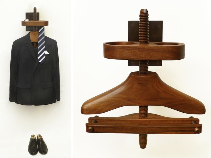 The Gentleman's Valet Company has a wall valet, useful for rooms where floor space is limited. The company provides either a trouser bar or a trouser/skirt clip hanger—a nice recognition that valet stands are used by both men and women. Even users not wearing skirts might prefer a clip to a bar, so it's smart to provide that alternative.