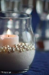 Gatsby wedding - Weddingbee - very cute... maybe find a very light pink sand or candle?