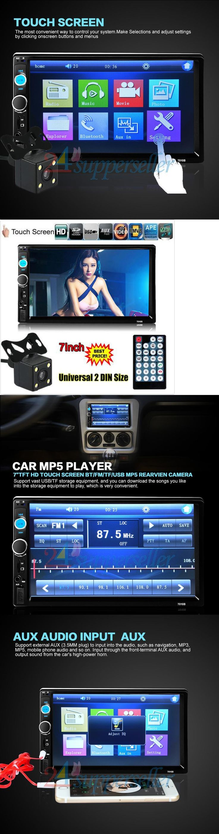 Car Audio In-Dash Units: 7 Double 2 Din Hd Car Radio Mp5 Mp3 Player Bluetooth Touch Screen Stereo Camera -> BUY IT NOW ONLY: $54.89 on eBay!