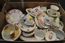 CHINA - Box of Assorted Cups  Saucers and Plates