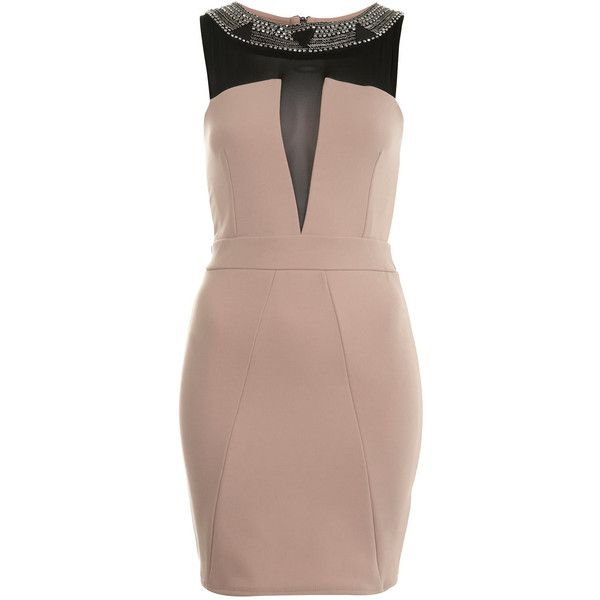 Miss Selfridge Petites Nude Bodycon Dress ($30) ❤ liked on Polyvore featuring dresses, nude, mesh insert dress, body con dress, nude dresses, bodycon cocktail dress and brown bodycon dress